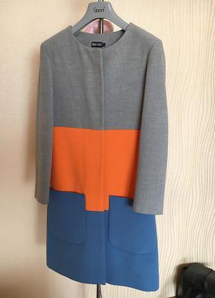 Пальто трёх цветное musthave ( серо, оранжево, синие)