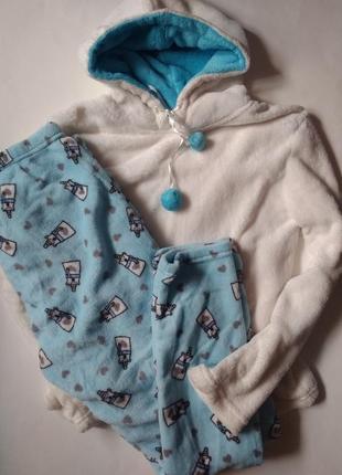 12/м/46 очень теплый плюшевый махровый комплект набор пижама для дома сна медведи мишки
