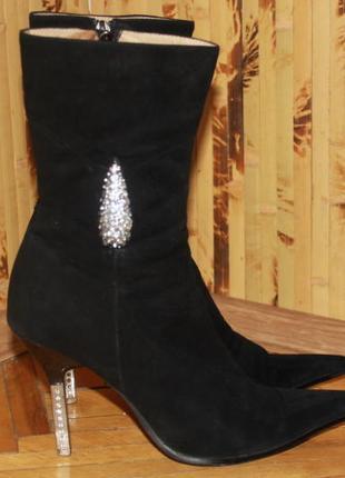 Сапоги чоботи натуральна замш на цигейке зима