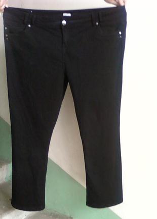 Джинсы штаны брюки черные straight большие на пышную фигуру размер 24 или 60-62