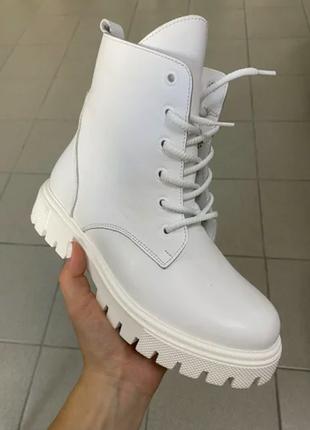 Ботинки женские кожаные белые на шнурках демисезонные
