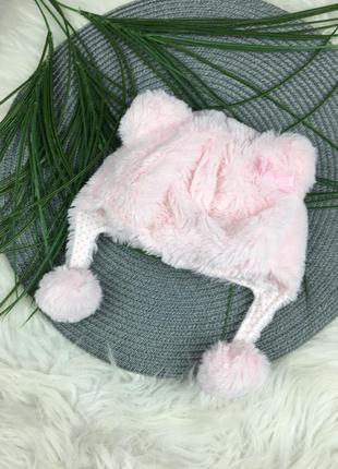 Мягенькая розовая шапочка на 1-2 мес