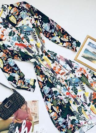 Стильное платье рубашка миди peruna в принт цветы птицы