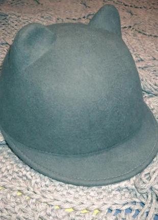 Жокейка-кошка. фетровая шляпа женская. жокейка з вушками від zara