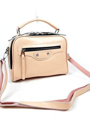 Розовая женская кожаная сумка, guecca прямоугольная