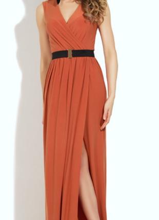 Платье длинное стильное терракотовое л-хл
