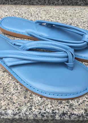 Next вьетнамки кожаные голубые нежно