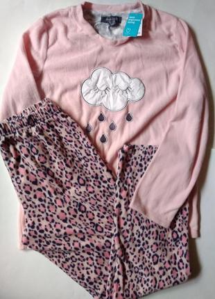 8-10 новый теплый махровый флисовый комплект набор пижама для дома сна облачко