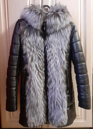 Куртка пуховик из натуральной кожи с мехом чернобурки
