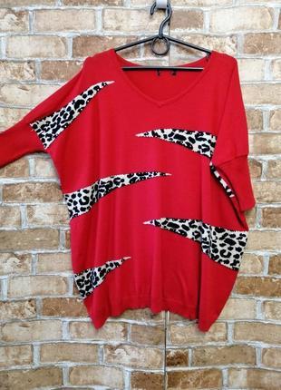 Тонкий красный джемпер с леопардовым принтом