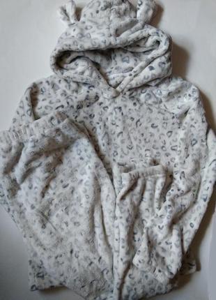 10-12 теплый плюшевый махровый комплект набор пижама для дома сна снежный барс с капюшоном