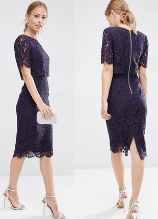 Asos  кружевное платье-футляр миди с укороченным топом