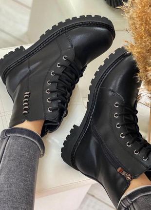 Черные зимние ботиночки из натуральной кожи