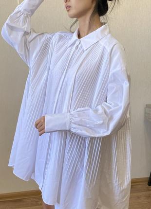 Zara плиссированная белая рубашка блузка большого размера хлопок хл