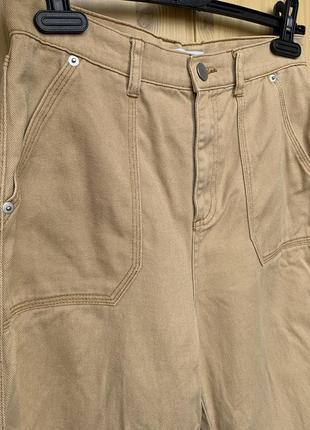 Джинсы - кюлоты песочного хаки цвета, высокая талия, модные, винтажные