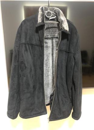 Дубленка мужская куртка замшевая с начёсом пальто  на молнии