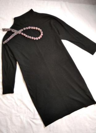 Черное стильное трикотажное платье сукня миди к хеллоуин only