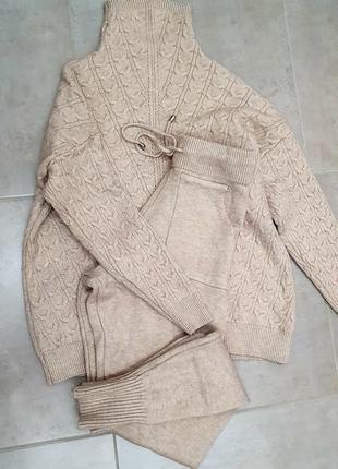 Теплый вязаный костюм/прогулочный костюм