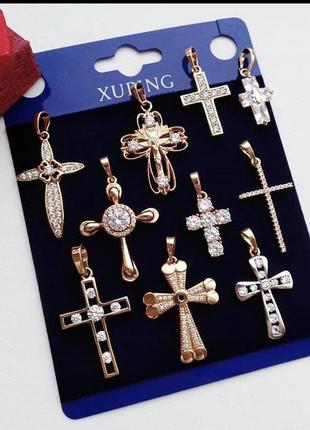 Крестик мед золото позолота 18к