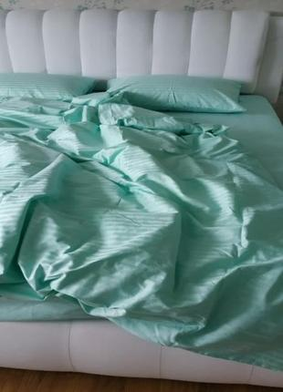 Комплект постельного белья страйп-сатин, однотонный тиффани, двуспалка