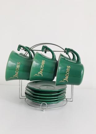 Набір, комплект чашки, набор чашек, 6 шт чашек, темно зелёные чашки.