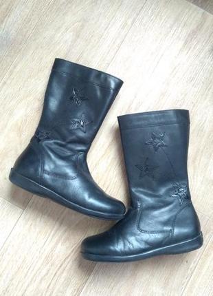 Утеплені чобітки для дівчинки з натуральної шкіри осенние сапожки