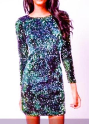 Бомбезное платье пайетки ,цвета морской волны