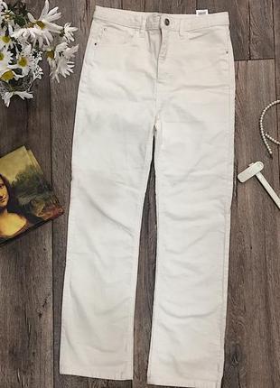 Кремово- белые вельветовые джинсы с высокой талией от sinsay на осень 🍂, клёш снизу джинсы