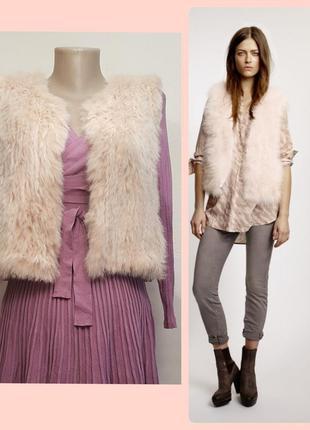 Роскошный жилет с мехом кролика marc aurel  красивый цвет розовой пудры