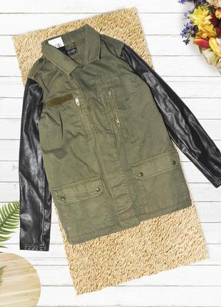 Новая куртка хаки с кожаными рукавами topshop