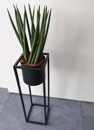 Стильный горшок для цветов 15x15x50см черный металл