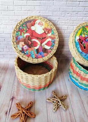 Шкатулка плетеная новогодняя