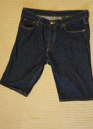 Отличные темно-синие джинсовые шорты h&m & denim швеция 34 р.