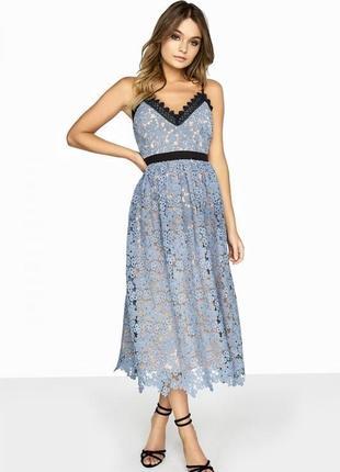 Платье миди вечернее кружевное голубое бежевое чёрное на брительках little mistress