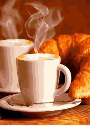 """Картина по номерах """"кава з круасаном"""""""