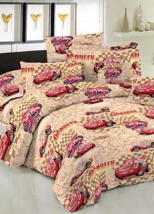 Набор постельного белья «тачки беж»