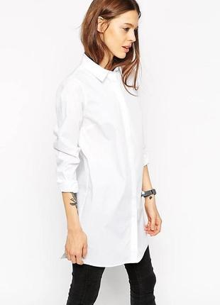 Рубашка длинная  asos белая удлиненная новая хлопок