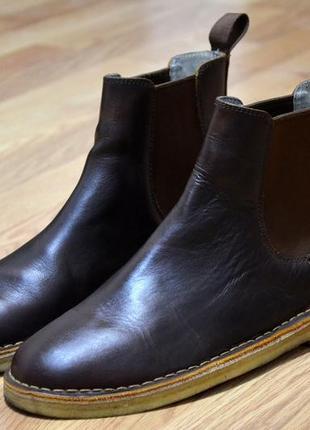 Clarks, оригинал фирменные ботинки кожаные  челси
