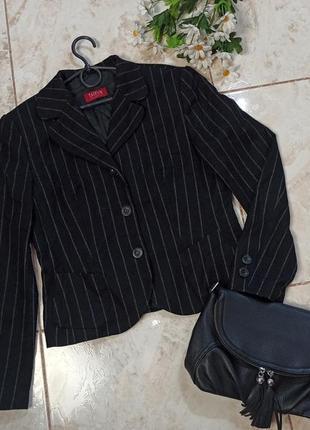 Красивый брендовый черный пиджак шерсть taifun