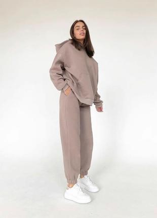 ✨💎🧡 спортивный костюм женский бежевый oversize теплый на флисе осень зима худи джоггеры