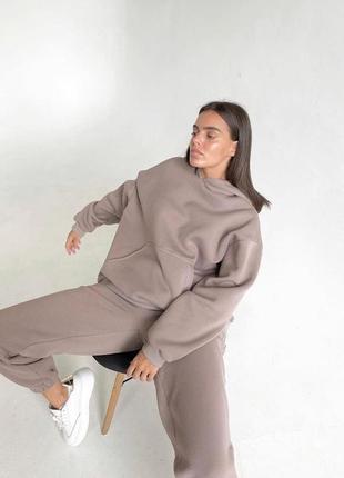✨💎🧡 спортивный костюм женский бежевый oversize теплый на флисе осень зима худи джоггеры5 фото