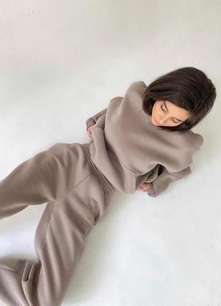 ✨💎🧡 спортивный костюм женский бежевый oversize теплый на флисе осень зима худи джоггеры6 фото