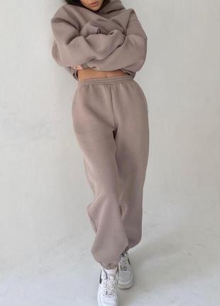 ✨💎🧡 спортивный костюм женский бежевый oversize теплый на флисе осень зима худи джоггеры7 фото