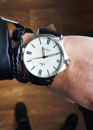 Белые классические мужские часы