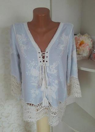 Шикарная блуза с вискозы, вышивка, кружево, кисточки. блуза в полосочку.