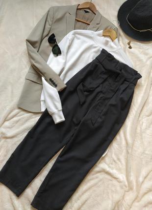 Базовые черные брюки под пояс высокая посадка h&m