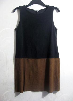 Платье ici et maintenant короткое замшевое комбинированное чёрное коричневое