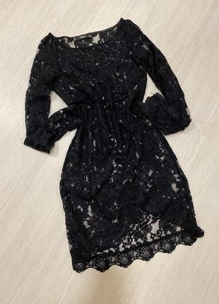 Платье нарядное , платье чёрное ажурное