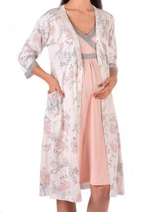 Комплект для беременных сорочка+халат - с цветами