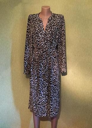 Платье рубашка с леопардовым принтом